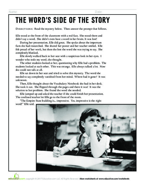 Third Grade Reading & Writing Worksheets: The Word's Side of the Story