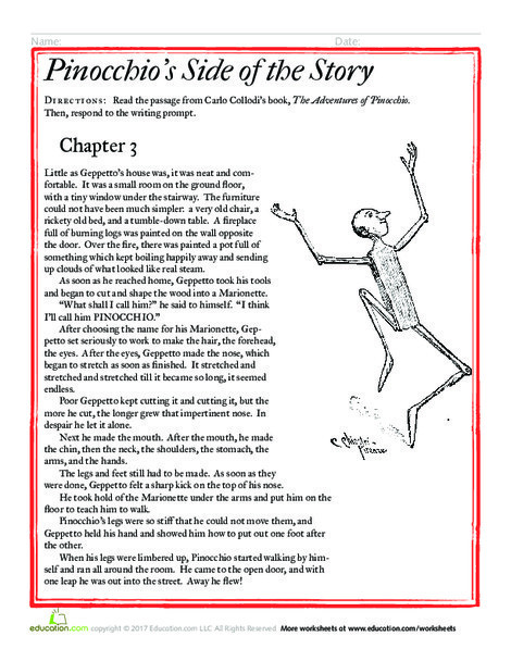 Third Grade Reading & Writing Worksheets: Pinocchio's Side of the Story