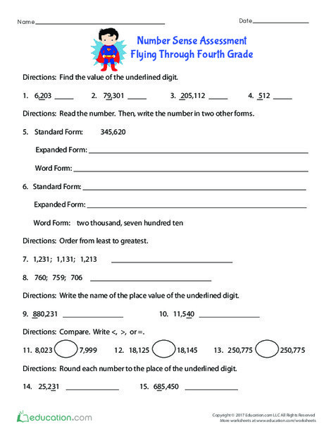 Fourth Grade Math Worksheets: Number Sense Assessment: Flying Through Fourth Grade