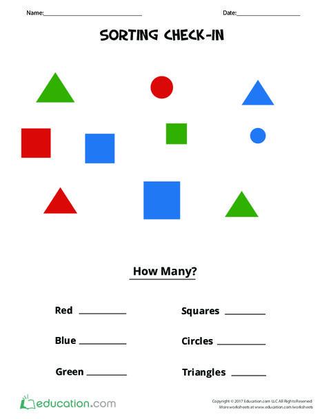 Preschool Math Worksheets: Sorting Check-In