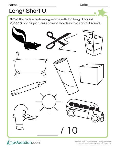 First Grade Reading & Writing Worksheets: Long/Short U