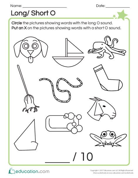 First Grade Reading & Writing Worksheets: Long/Short O