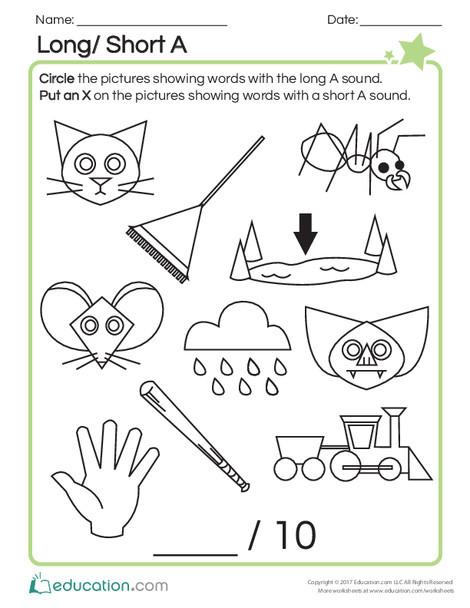 First Grade Reading & Writing Worksheets: Long/Short A