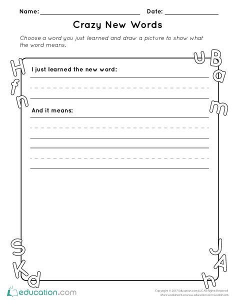 Kindergarten Reading & Writing Worksheets: Crazy New Words