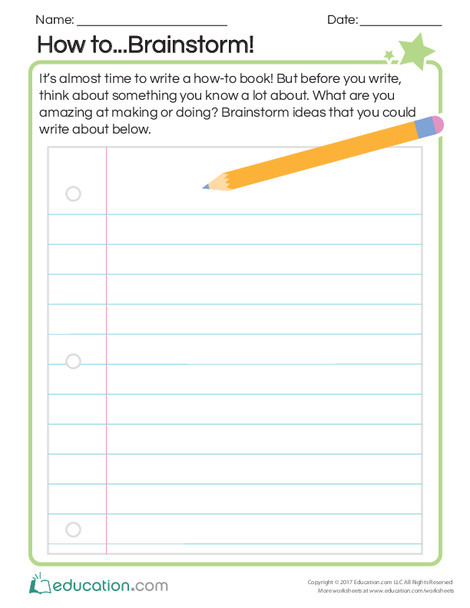 First Grade Reading & Writing Worksheets: How to...Brainstorm!