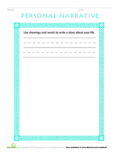 Kindergarten Reading & Writing Worksheets: Mid-Year Assessment: Write a Personal Narrative