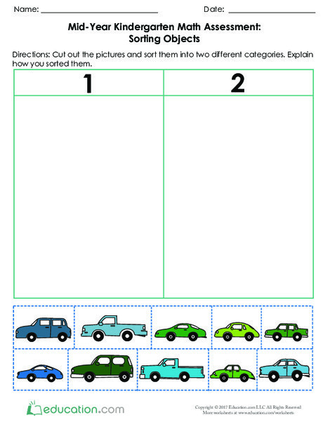 Kindergarten Math Worksheets: Mid-Year Math Assessment: Sorting Objects