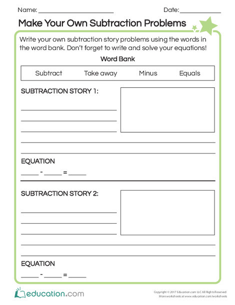 First Grade Math Worksheets: Make Your Own Subtraction Problems