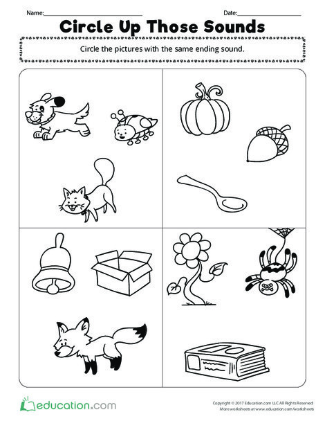Preschool Reading & Writing Worksheets: Circle Up Those Sounds