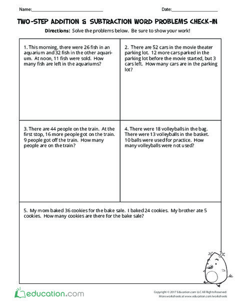 Third Grade Math Worksheets: Two-Step Addition & Subtraction Word Problems Check-In