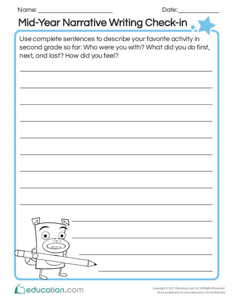Second Grade Reading & Writing Worksheets: Mid-Year Narrative Writing Check-in