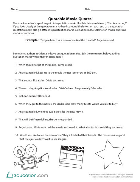 Third Grade Reading & Writing Worksheets: Quotable Movie Quotes