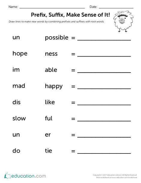 Second Grade Reading & Writing Worksheets: Prefix, Suffix, Make Sense of It!