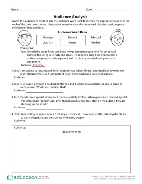 Third Grade Reading & Writing Worksheets: Audience Analysis