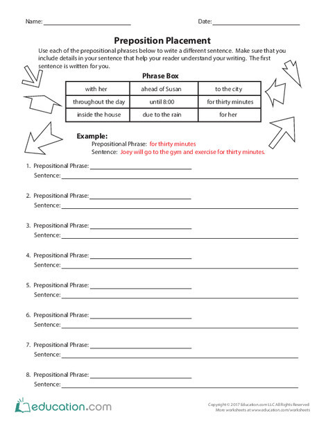 Third Grade Reading & Writing Worksheets: Preposition Placement