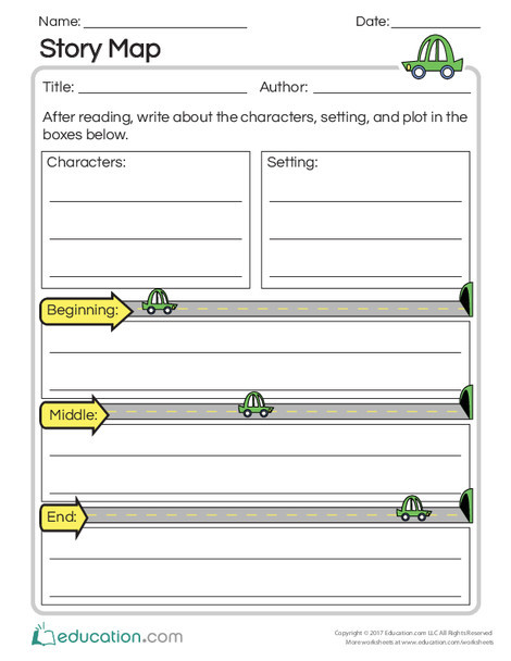 Second Grade Reading & Writing Worksheets: Story Roadmap