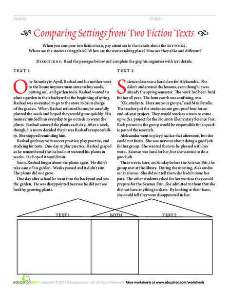 Third Grade Reading & Writing Worksheets: Comparing Settings from Two Fiction Texts