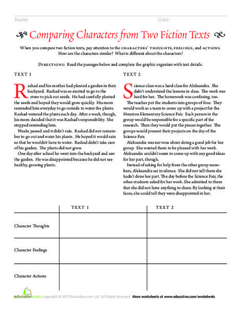 Third Grade Reading & Writing Worksheets: Comparing Characters from Two Fiction Texts
