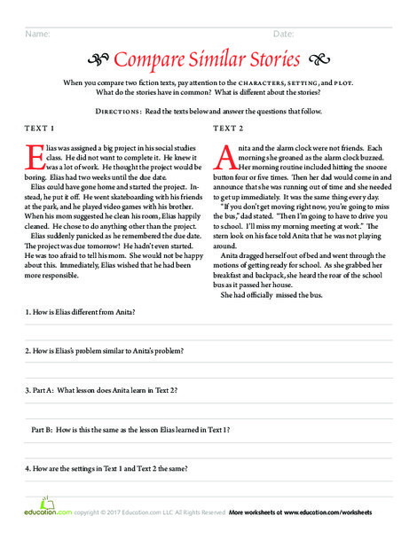Third Grade Reading & Writing Worksheets: Compare Similar Stories