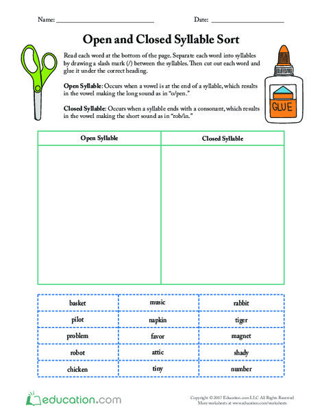 Fourth Grade Reading & Writing Worksheets: Open and Closed Syllable Sort