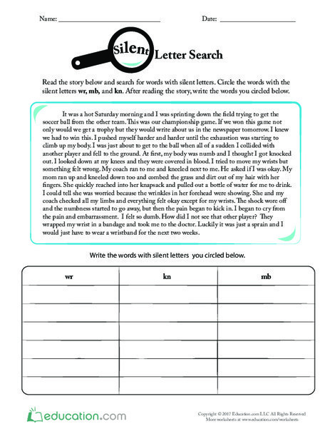 Fourth Grade Reading & Writing Worksheets: Silent Letter Search
