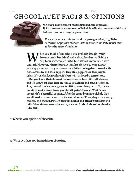 Fourth Grade Reading & Writing Worksheets: Chocolatey Facts and Opinions