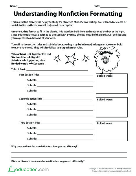 Fourth Grade Reading & Writing Worksheets: Understanding Nonfiction Formatting
