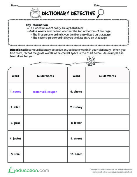 Second Grade Reading & Writing Worksheets: Dictionary Detective