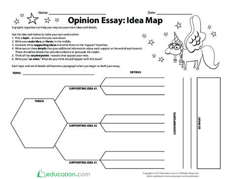Fourth Grade Reading & Writing Worksheets: Opinion Essay: Idea Map