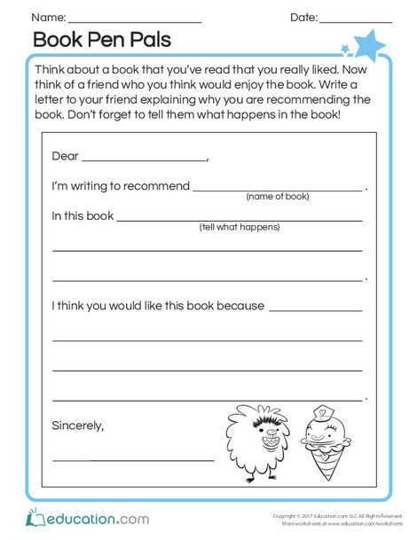 First Grade Reading & Writing Worksheets: Book Pen Pals