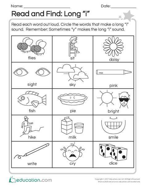 """Second Grade Reading & Writing Worksheets: Read and Find: Long """"I"""""""