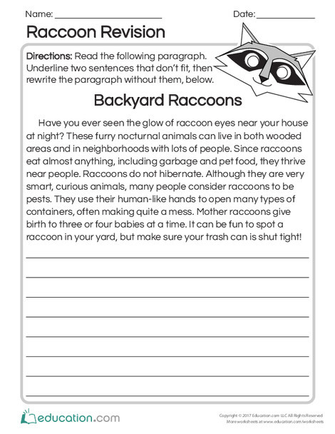 Second Grade Reading & Writing Worksheets: Raccoon Revision