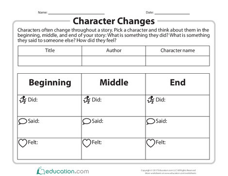 Second Grade Reading & Writing Worksheets: Character Changes