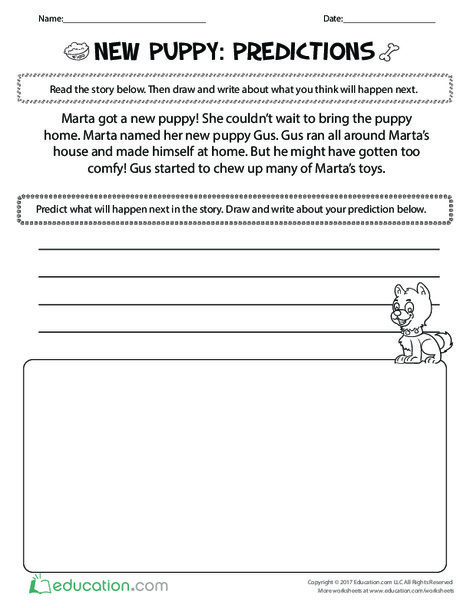 First Grade Reading & Writing Worksheets: New Puppy: Predictions