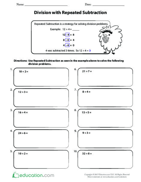 Third Grade Math Worksheets: Division with Repeated Subtraction
