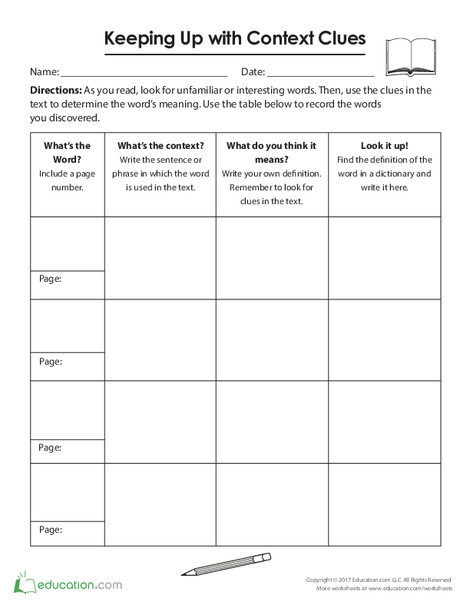 Fourth Grade Reading & Writing Worksheets: Keeping Up with Context Clues