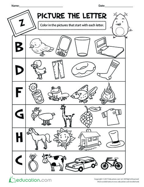 Preschool Reading & Writing Worksheets: Picture the Letter