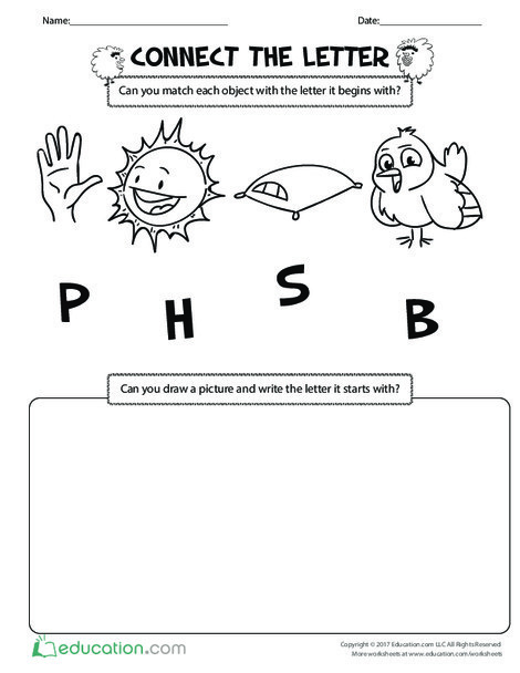 Preschool Reading & Writing Worksheets: Connect the Letter