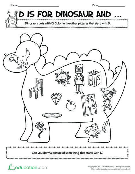 Preschool Reading & Writing Worksheets: D Is for Dinosaur And...