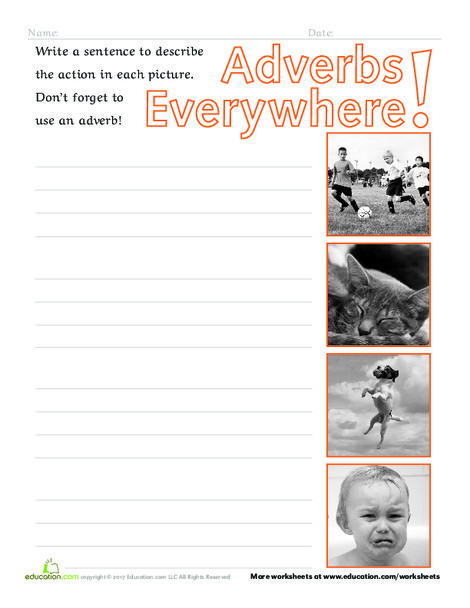 Second Grade Reading & Writing Worksheets: Adverbs Everywhere!