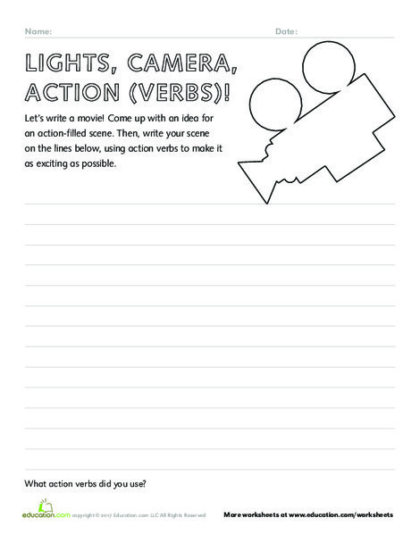 Second Grade Reading & Writing Worksheets: Lights, Camera, Action (Verbs)!