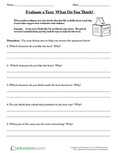 Third Grade Reading & Writing Worksheets: Evaluate a Text: What Do You Think?