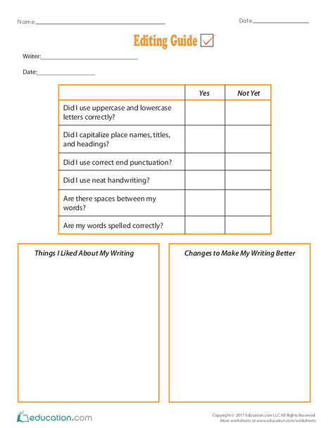 Second Grade Reading & Writing Worksheets: Editing Guide
