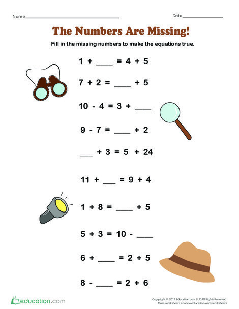 First Grade Math Worksheets: The Numbers Are Missing!