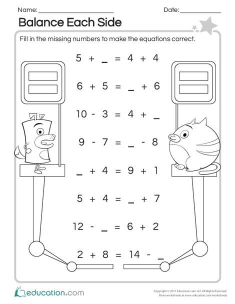 First Grade Math Worksheets: Balance Each Side