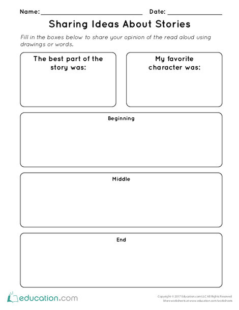 Kindergarten Reading & Writing Worksheets: Sharing Ideas About Stories