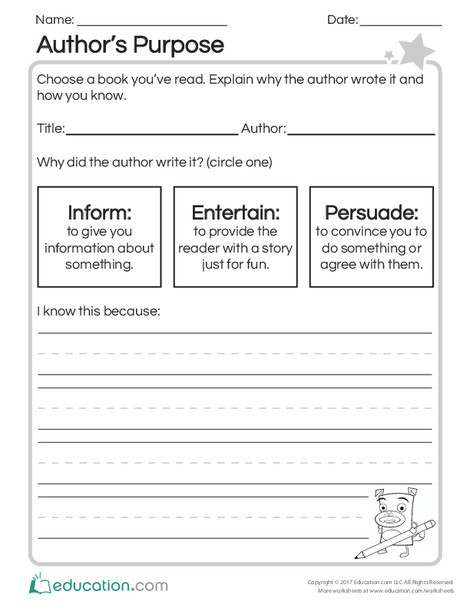 Second Grade Reading & Writing Worksheets: Author's Purpose