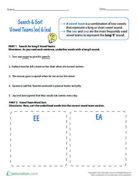 Fourth Grade Reading & Writing Worksheets: Search & Sort: Vowel Teams <i>ee</i> & <i>ea</i>
