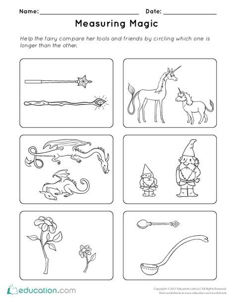 Kindergarten Math Worksheets: Measuring Magic