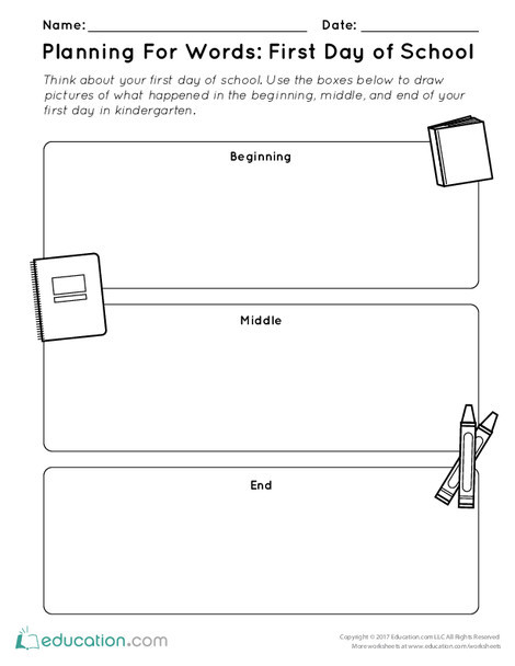 Kindergarten Reading & Writing Worksheets: Planning For Words: First Day of School